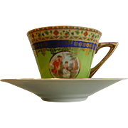 Vintage Teacup & Saucer Signed Made in Czechoslovakia