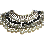 Vintage Statement Necklace Faux Pearl & Rhinestone - Fit for Cleopatra