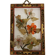 Vintage Chinese Carved Wooden Frame & Natural Stone Flowers Picture