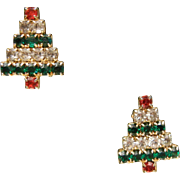 Vintage Christmas Tree Clip Earrings