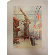 "Fine Chromolithograph The World's Fair in Watercolors - ""The Yerkes Telescope"" by C."