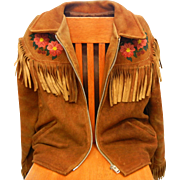Vintage Native American Hand Beaded Leather Coat Jacket