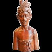 Vintage Bali Statue Balinese Wood Hand Carved Fa Pan Akus