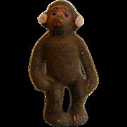 Vintage WAGNER Handwork West Germany Original Miniature Toy Flocked Fure Monkey