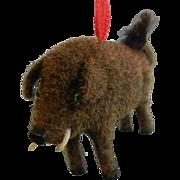 Rare Vintage WAGNER Handwork West Germany Original Flocked Miniature Toy Ornament Boar