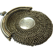 Antique Sterling Mesh Coin Purse w/ Initials