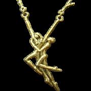 Modernist Brass/Bronze Sculptural Nude Dancing Necklace
