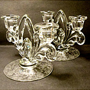 SALE Rose Point - Cambridge Co.  # 3900/72 Two Lite Candle Holders