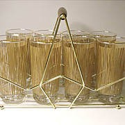 SOLD Vintage Mid Century Anchor Hocking Caddy Set - 8 Glasses - Tumblers - Bali Pattern