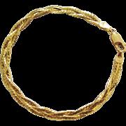 Vintage 10 Karat Gold Three Strand Braided Herringbone Bracelet