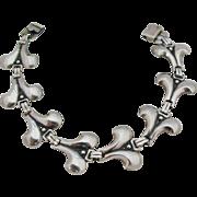 Sterling Silver Stylized Fleur de Lis Lily Link Bracelet