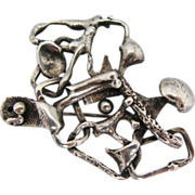 Brutalist Abstract Mid Century Modernist Sterling Silver Brooch