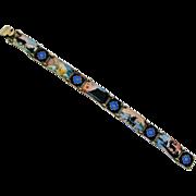Scandinavian Sterling Silver Enamel Scenic Bracelet H.C. Ostrem Norway