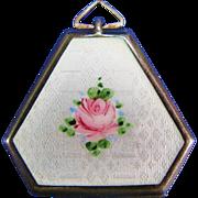Sterling Silver Guilloche Enamel Pink Rose Art Deco Hexagonal Locket