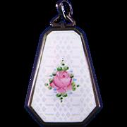 Sterling Silver Guilloche Enamel Pink Rose Art Deco Long Hexagonal Locket