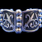 Pre-Eagle Wide Sterling Silver Niello Fleur de Lis Panel Ball Bracelet