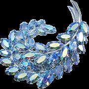 Sherman Aurora Borealis Pastel Blue Feather Brooch