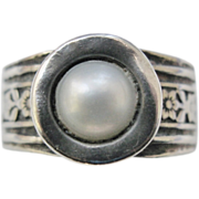 Sterling Silver Wide Impressed Floral Band Pearl Ring