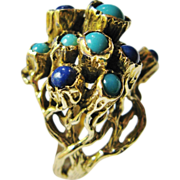 Spectacular Modernist 14 Karat Gold Ring With Lapis And Turquoise
