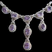 Amethyst Drop Sterling Silver Bib Lavaliere Necklace