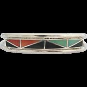 Signed Zuni Native American Inlay Cuff Bracelet