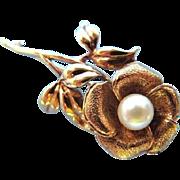 Elegant 10K Gold Pearl Rose Flower Brooch