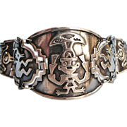 Wide Peruvian Sterling Silver Tribal Bracelet With Native Motifs