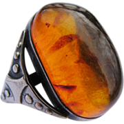 Stunning Mid Century Baltic Amber Russian 875 Silver Ring