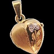 Italian 14K Yellow & White Gold Engraved Flower Heart Locket Pendant