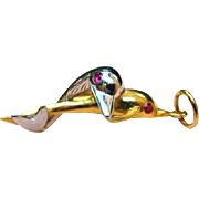 10K White And Yellow Gold Dolphin Pair With Ruby Eyes Pendant Charm