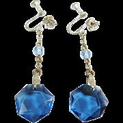Art Deco Blue Glass And Clear Rhinestone Long Dangle Drop Earrings