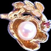 Unique Vintage 14 Karat Gold Pearl Ruby 3D Floral Ring