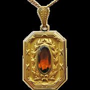 Gold Filled Faux Topaz Laurel Leaf Locket Necklace