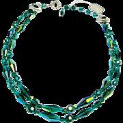 Sherman Teal Aurora Borealis Double Strand Choker Necklace