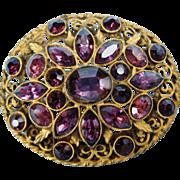 Huge Antique Purple Rhinestone Paste Gilt Metal Brooch Or Pendant