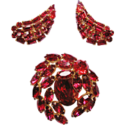 Signed Sherman Magenta Red Brooch With Earrings Demi Parure