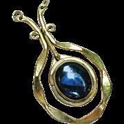 Rafael Canada Modernist Hand Crafted Huge Blue Murano Glass Pendant