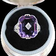 Art Deco Amethyst Diamond Filigree White Gold Ring