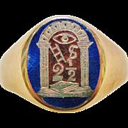 10 Karat Gold Blue Red Enamel Fraternal Order Masonic Ring