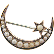 Antique 10 Kt Gold Seed Pearl Moon And Star Brooch