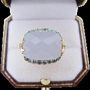 14 Kt Gold Diamond Aquamarine Quartz Cocktail Ring Size 9