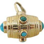 Victorian Turquoise 18 K Gold Barrel Charm