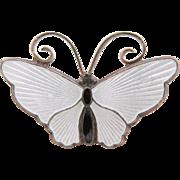 David Andersen Sterling Silver Enamel White Butterfly Brooch