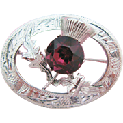 Glasgow 1954 Sterling Silver Scottish Thistle Brooch
