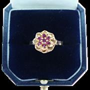 14 Karat Gold Ruby Flower Ring