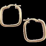 Italian 10 Karat Gold Modernist Square Hoop Pierced Earrings