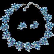 Sherman Blue Rhinestone Earrings And Necklace Demi Parure