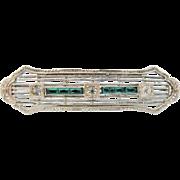 10 K White Gold Filigree Art Deco Bar Brooch With Faux Diamonds Emeralds