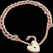 9K Gold Twisted Link Heart Padlock Charm Bracelet Hallmarked London 1960