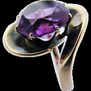 14 Karat Gold Amethyst Modernist Ring